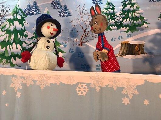 Спектакль про снеговика;зимний спектакль.